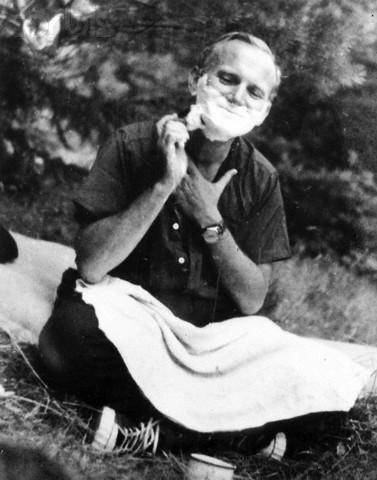 Pope John Paul II shaving on a camping trip